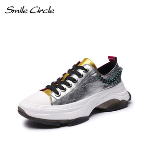 Image 1 - Sorriso círculo mulher tênis sapatos de plataforma plana para mulher fundo grosso moda cores misturadas sapatos casuais 2019 primavera