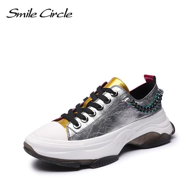 Sorriso círculo mulher tênis sapatos de plataforma plana para mulher fundo grosso moda cores misturadas sapatos casuais 2019 primavera