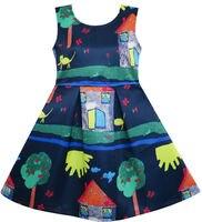 Girls Dress Tree House Cat Butterfly Bird Flower Print 4 10