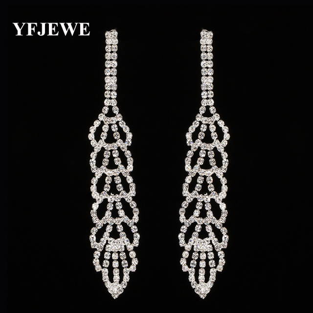 Yfjewe New Arrival Bridal Tel Drop Earrings Sparkling Full Rhinestone Crystal Long Dangle Wedding Jewelry
