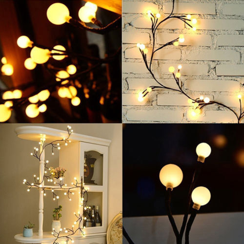 LED Christmas Tree Party Lights Wedding Lamp Waterproof Hot Black Rattan Round Ball String Lights Home Decoration Accessories