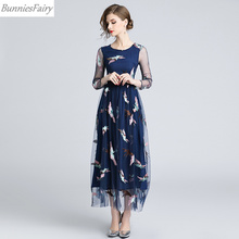 473cf51070c BunniesFairy 2018 Fall New Women Bohemian Boho Style Phoenix Bird Animal  Embroidered Navy Blue Mesh Midi