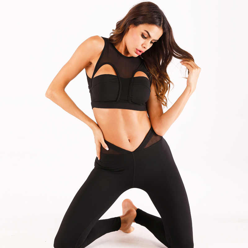 6baab3750b157 ... Fitness Ensemble Women Yoga Sets Mesh Hollow Out Gym Wear Running Clothes  Sportswear Tracksuit Sexy Tank ...