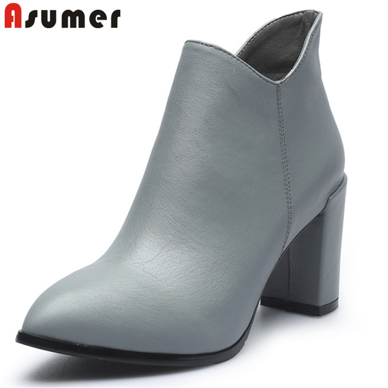 ASUMER black gray fashion autumn shoes woman pointed toe thick heel high heels boots women genuine leather ankle boots cocoafoal woman genuine leather ankle boots autumn winter 9 cm high heel shoes black apricot fashion sexy pointed toe boots 2018