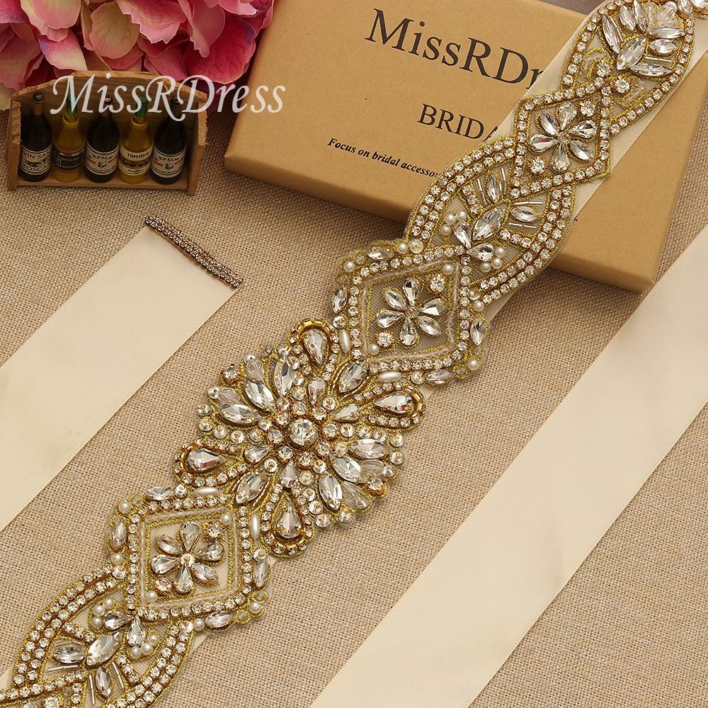 MissRDress schitterende bruidsjurk riem goud kristal strass linten - Bruiloft accessoires - Foto 4