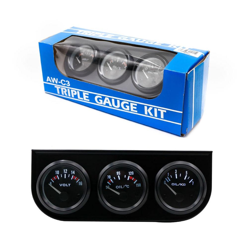 Бесплатная доставка 52 мм Электрические Тройной Комплект (Температура масла Датчик + Вольтметр + Датчик Давления Масла) датчик Температуры Авто Gauge