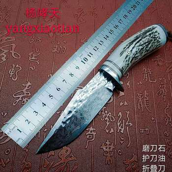 Outdoor Tactical Fixed Knive VG10 76 layers steel Damascus pattern Knife Handmade camping Hunting Knife EDC tools Antlers handle