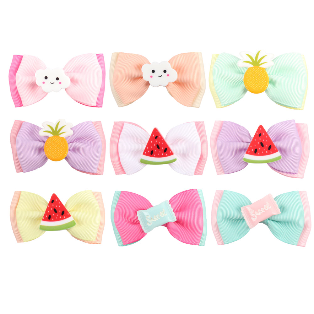 4 Pcs/lot 2.5'' Cute Kids Hair Bows Watermelon Clouds Pineapple Candy Ribbon Hair Accessories Hairgrips Headwear жидкость pohaipu pineapple kiwi candy 30мл 0мг