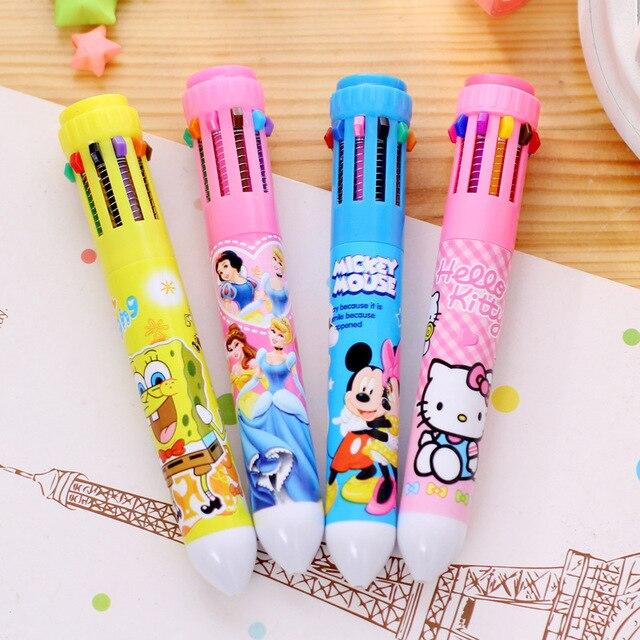 10 Цветов Милый Мультфильм Канцелярские Hello Kitty Шариковая Ручка Офис Школьные Принадлежности Ручки для подарков
