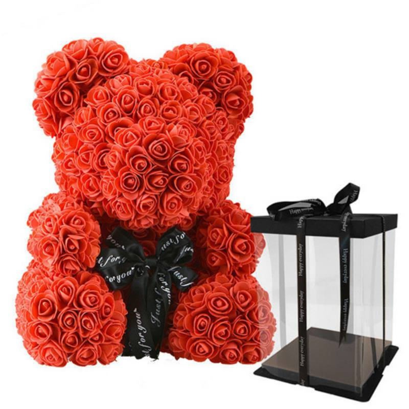 Rose Bear Teddy Bear with Ribbon Forever Artificial Rose