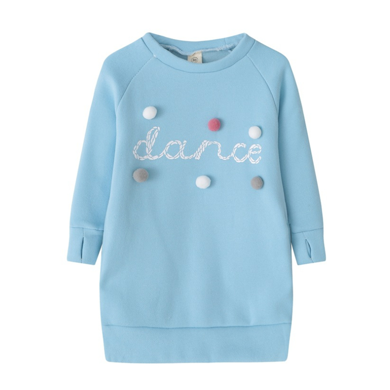 3-8Y Child Baby Girls Warm Dress Autumn/Winter Plush Ball Long Sleeve Mini Stright Dresses Girls Party Princess Dress Clothes