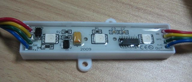 3pcs 5050 RGB pixel module,waterproof,CYT3005 IC;512 level gray scale;DC12V input;0.9W;single-line transmission