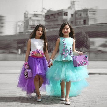2020 Mint Green Tulle Girls Pageant Dress 2 Piece Hi-Lo Skirt First Communion Dresses Vestido Daminha Flower Kids Evening Gowns