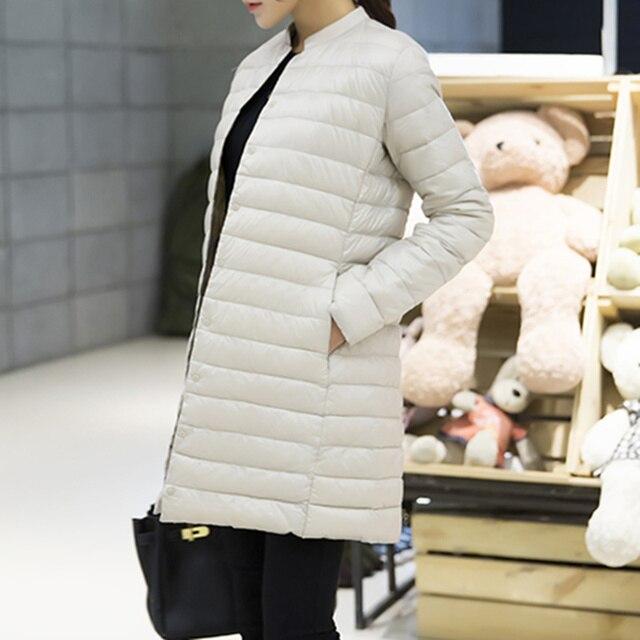 Woman Autumn Winter Padded Coat Ultra Light Duck Down Jacket Long Female Overcoat Slim Jackets Plus Size Coat Portable Parkas
