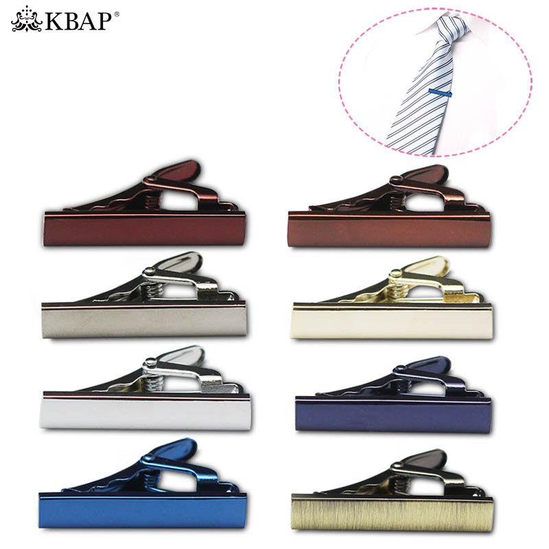 цена KBAP Mens Metal Skinny Neck Tie Clip Pin Tie Bar Clasp Wedding Business Neck Tie Bar Clip Gold Silver Blue Burgundy