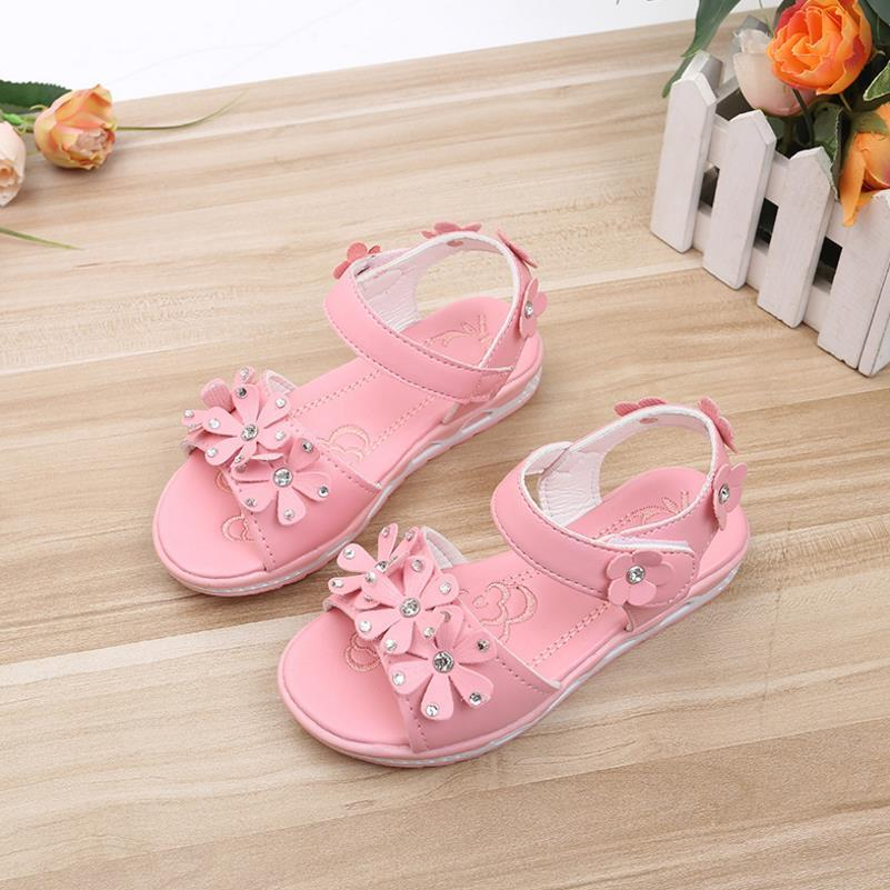 2018 new summer childrens shoes childrens shoes sandals girls PU leather princess shoes girls sandals