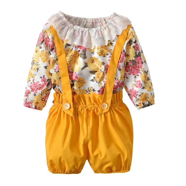 3e619b56a6c Summer Baby Girl Floral Outfits Clothes Newborn Kids Girls Princess Lace  Rompers+Shorts Sunsuit Clothes