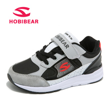 HOBIBEAR Genuine Leather Kids Sneakers Boys Shoes For Sport Running Anti-Slippery Hook&Loop Children Shoes Student Casual Shoes