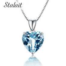 Titanic Heart Of Ocean Pendant Necklace Blue Heart  Necklace Crystal Rhinestone Luxury Women Filled AAA Zircon Charm Jewelry