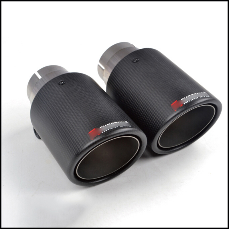 Tail-Tip Exhaust-Pipe 2pcs Carbon-Fiber Stainless-Steel Universal Car-Rear Auto