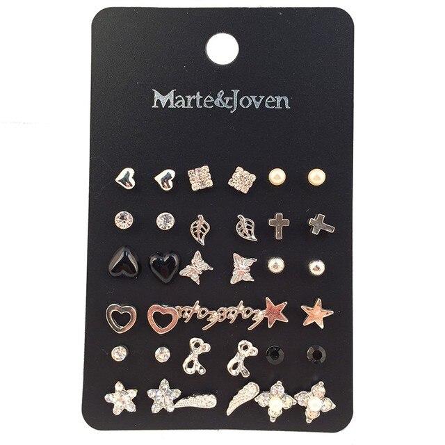 Marte & Joven 18 paires/lot clous doreilles mixte oiseau croix fleur amour coeur étoiles couleur argent boucles doreilles ensembles Stud pour les femmes en gros