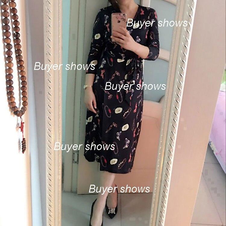 De Portefeuille Floral 2019 D'été Robe Manches Noir Robes Longues Soie Midi Mousseline V Col À Femmes IH9D2E