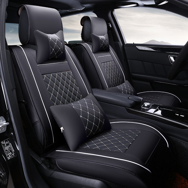 (2 front) High quality leather universal car seat cushion Car-Covers for Chevrolet Sail Cruze Spark Aveo car cover accessories 2 black and tan checkered seat covers for a 2010 to 2013 chevrolet equinox side airbag friendly