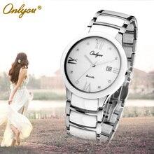 Onlyou Brand White Black Ceramic Watches Womens Mens Fashion Quartz Watch Sapphire Crystal Ladies Dress Watch Female Clock 6911