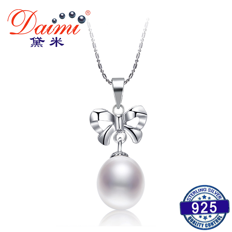 DAIMI Simple Nice Bowknot Necklace 8.5-9mm Natural White Pearl Pendant Necklace 925 Silver Pendant 2017 DAIMI Simple Nice Bowknot Necklace 8.5-9mm Natural White Pearl Pendant Necklace 925 Silver Pendant 2017