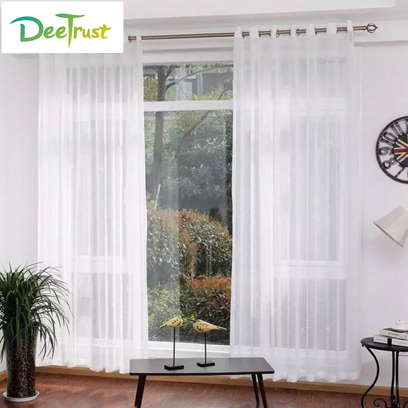 Cheap White Curtains Tulle For Living Room Bedroom Translucidus Modern  Window Curtains Sheer Voile(China