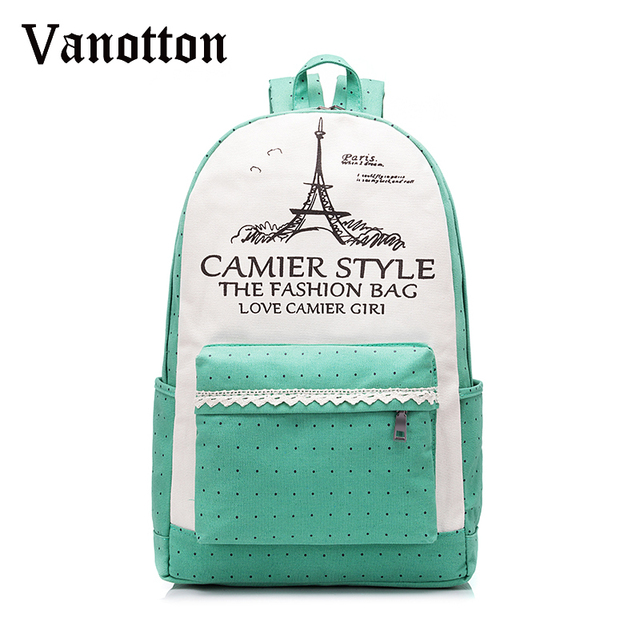 New tower canvas printing backpack school bags for teenage girls cute book bags women school backpack