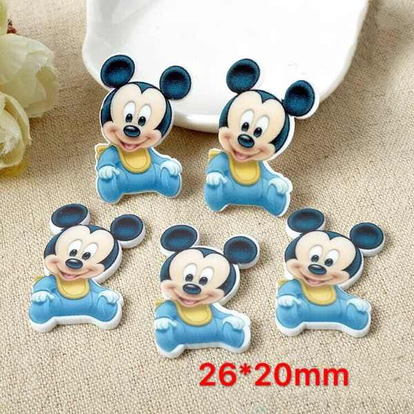 10/pc Kawaii Hair Bow Jewelry Accessories Mickey baby Figurine Flat Back Planar Resin Craft Diy Cartoon Patch Refrigerator