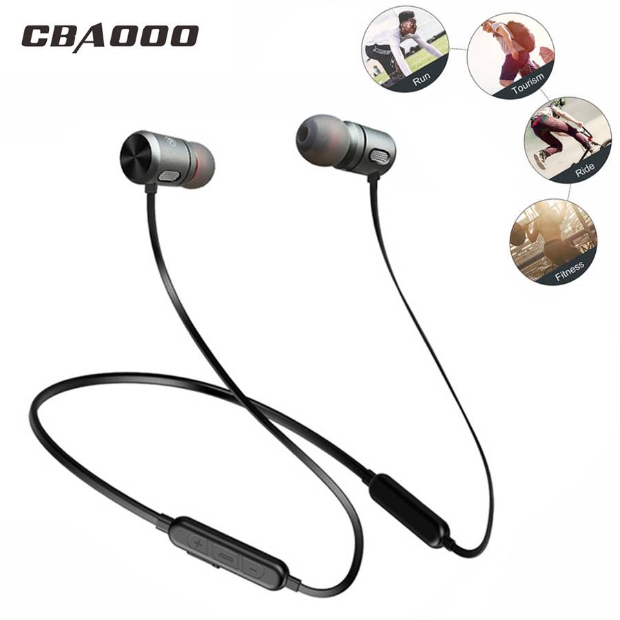 CBAOOO Wireless Bluetooth Earphones Headphones Sport Magnetic Headphone Earpiece Rear hanging Bluetooth Headset for Mobile phone
