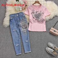 ALPHALMODA 2019 летние женские стильные футболки с коротким рукавом, джинсовые тяжелые хлопковые футболки с 3D цветочным принтом и рваные брюки