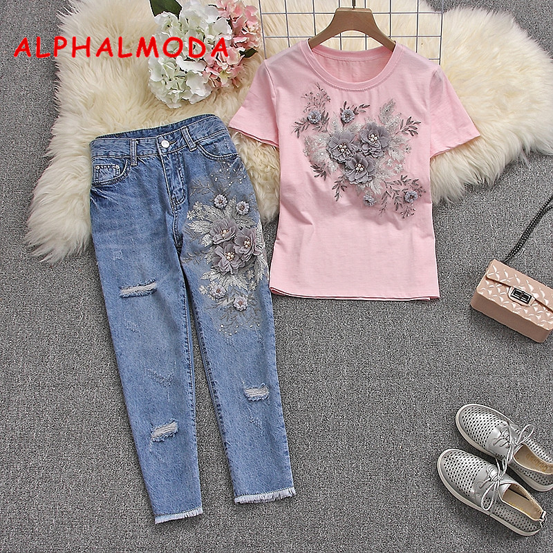 ALPHALMODA 2019 Summer Women Stylish Short-sleeved Tshirts Jeans Heavy-work 3D Floral  Cotton Tshirts And Ripped Trousers
