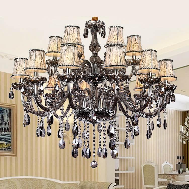 Бесплатная доставка дымчато-серая мода Роскошная большая Хрустальная люстра свет гостиная огни Современная хрустальная люстра освещение
