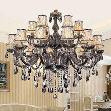 Ücretsiz Kargo Dumanlı gri moda lüks Büyük kristal Avize ışık oturma odası ışıkları Modern Kristal Avize aydınlatma