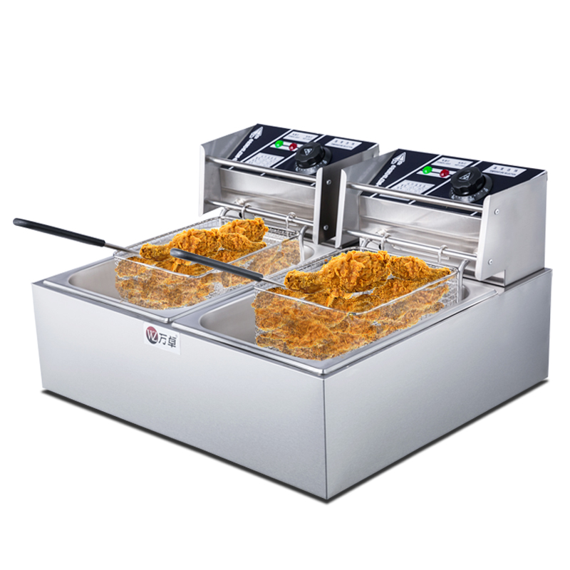 Commercial Fry Pan Home Double Cylinder Thicker French Fries Machine Fried Chicken Wings Electric Fryer Картофель фри