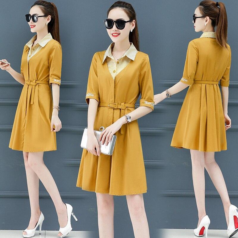 2019 New Suitable for women elegant dress High waist lapel dresses trend Summer Shirt dress female Korean fashion clothing 2305 2