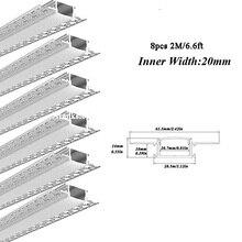 8 шт. 2 м светодиодный гипсокартон канал с молочным покрытием для прокладки светильник светодиодный алюминиевый профиль для Светодиодный светильник с установкой посылка