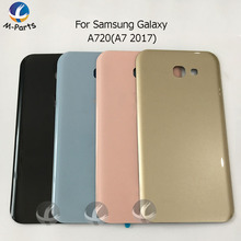 Back Glass For Samsung Galaxy A720 A7 2017 Back Battery Cover A720 Rear Battery Door Housing Case Replacement Parts With Logo