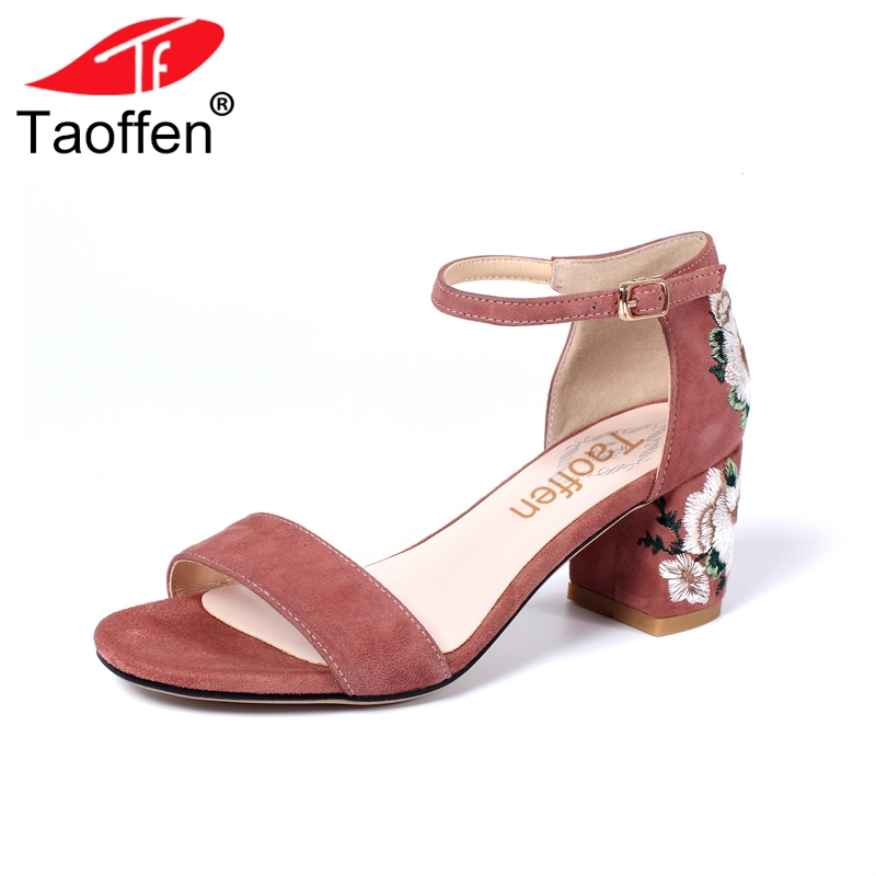 TAOFFEN Women High Heel Sandals Real Leather Ankle Strap Thick Heel Print Sandals Women Elegant Vintage Shoe Footwear Size 34-39 taoffen women high heels sandals real leather peep toe shoes women buckle clear thick heel sandals daily footwear size 34 39