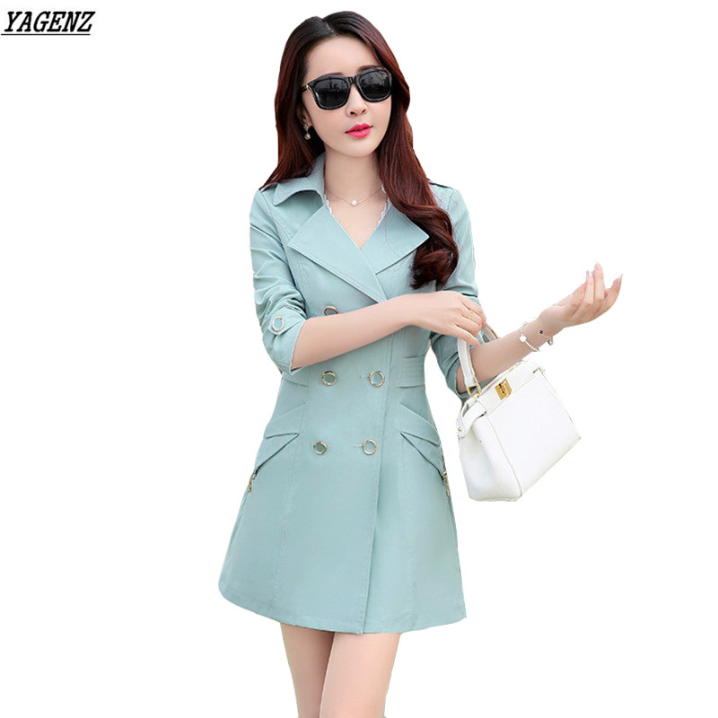 YAGENZ Outwear Trench-Coats K111 Spring Autumn Long Fashion Plus-Size Women Lady Slim