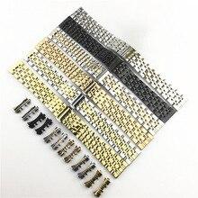 Extremidade curva 7 Contas Pulseira de Aço Inoxidável Adequado para Samsung Tissot Watch Band Strap Pulseira 12mm 24mm borboleta Fivela