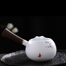 200Ml Handpainted Plum Fair Cup With Wooden Handle Matte White Porcelain Tea Set High Quality Vintage Chinese Tool