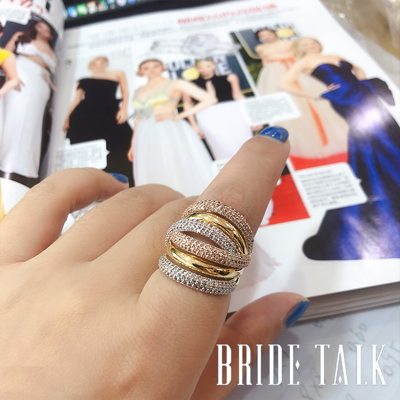 Bride Talk Luxury Women Ring AAA Cubic Zirconia Shiny Crystal Multi-Layered Design Fashion Jewelry For Wedding Party Dating Gift 4