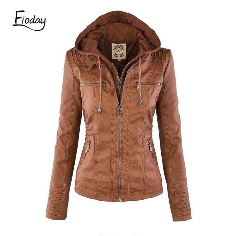 Fioday Faux   Leather   Jacket for Women Autumn Slim Female PU   leather   Black Coats Hooded Zip-up   Leather   jaqueta de couro mujer