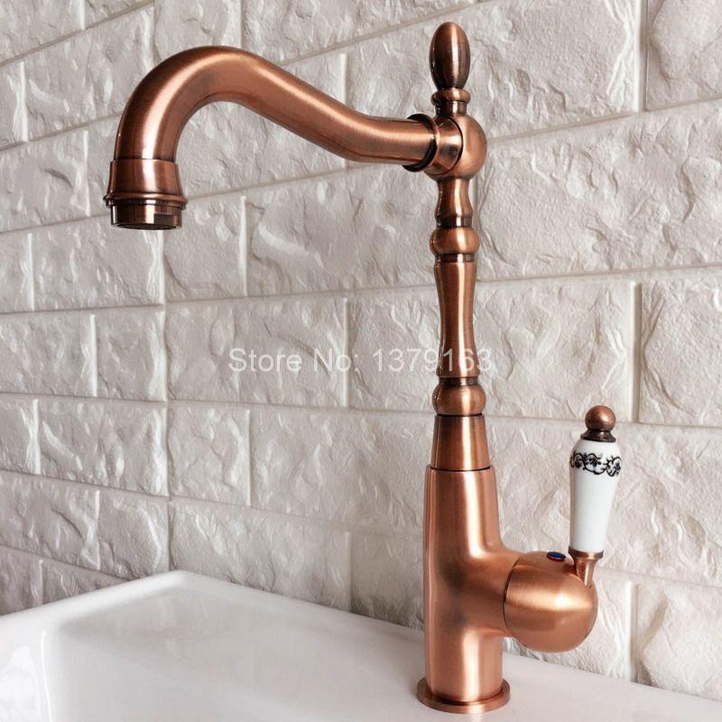 Swivel Spout Water Tap Antique Red Copper Single Handle Single Hole Kitchen Sink Bathroom Faucet Basin