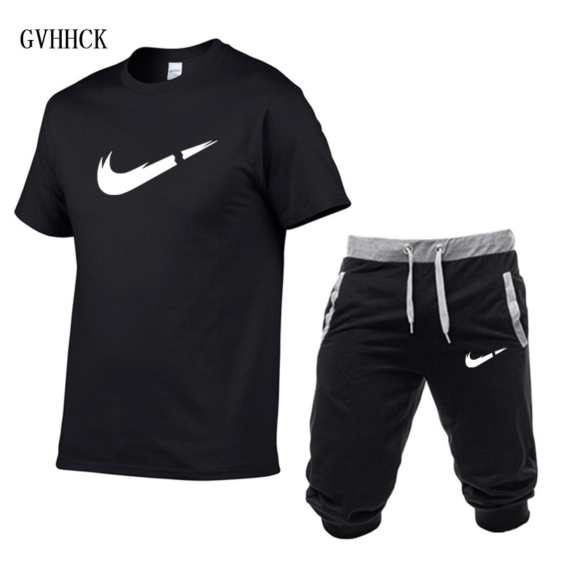 6a76dc553bcd US $6.46 31% OFF|Summer New Tracksuit Men Shorts Casual Men's Sportswear  Suit Shorts Brand Clothing Two Pieces Top Tee+Shorts Sweat Suits 2019-in ...