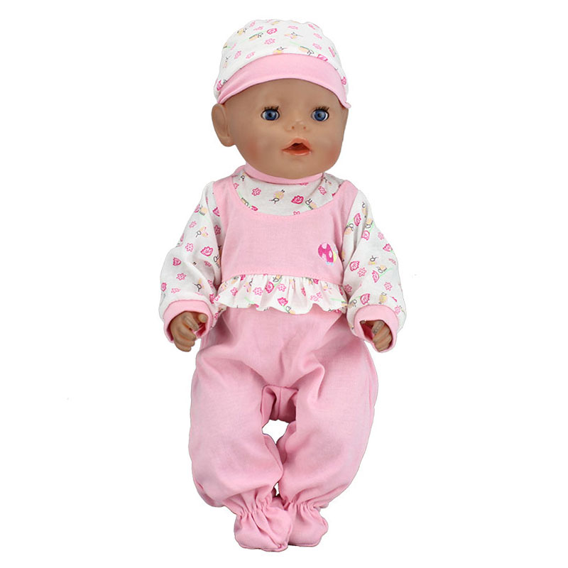 Pink set jumpsuits ,Doll Clothes Wear fit 43cm Baby Born zapf,  Children best  Birthday Gift(only sell lothes) red hat t shirt rompers doll clothes wear fit 18 inch american girl 43cm baby born zapf children best birthday gift n289